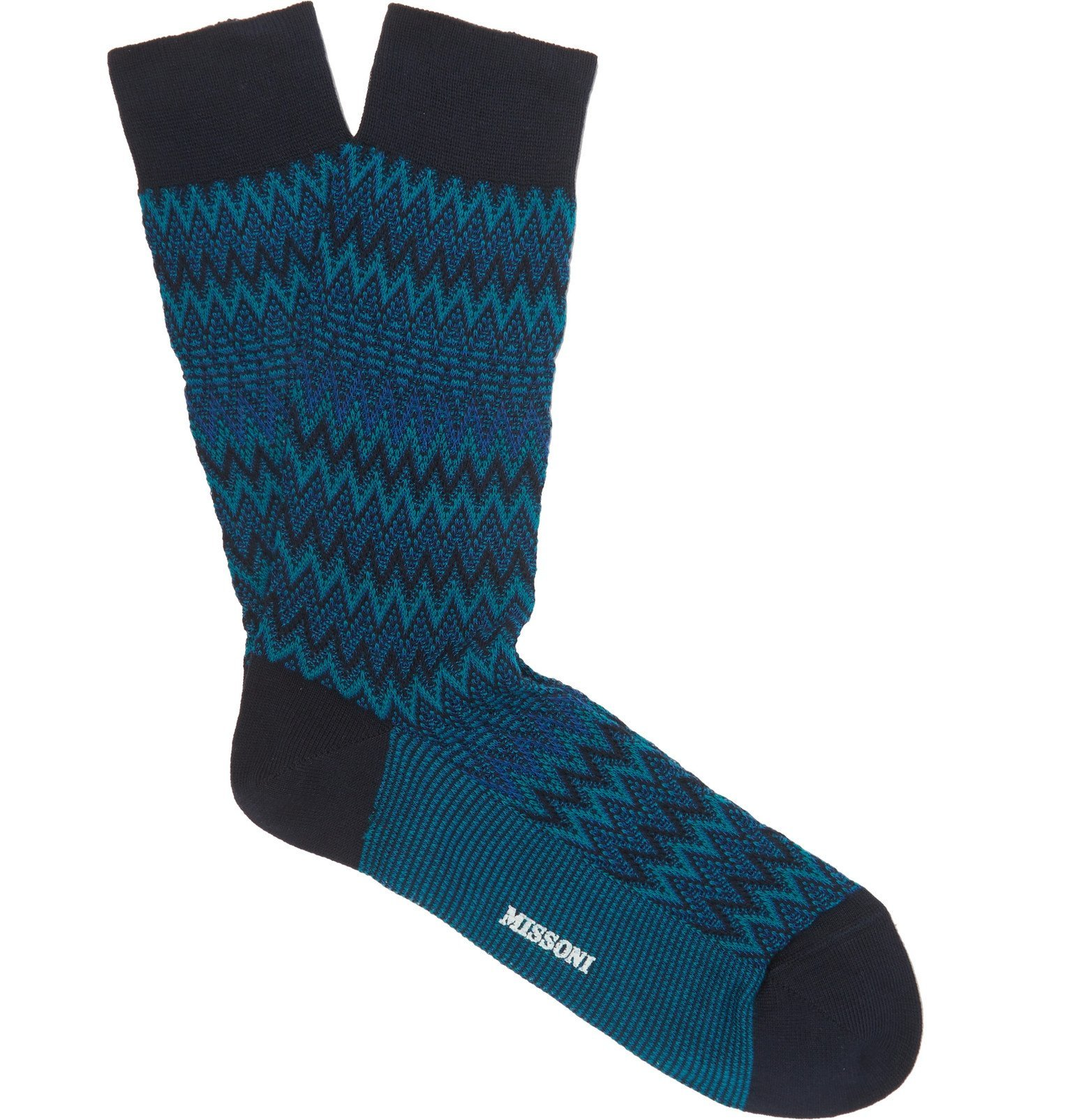 Photo: Missoni - Crotchet-Knit Cotton-Blend Socks - Blue