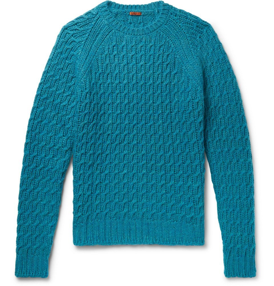 Photo: Barena - Slim-Fit Cable-Knit Sweater - Petrol