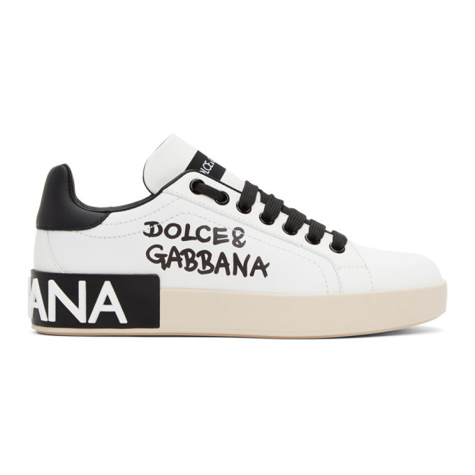 Photo: Dolce and Gabbana White and Black Logo Portofino Sneakers