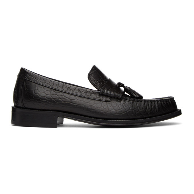 Photo: Paul Smith Black Croc-Embossed Lewin Loafers