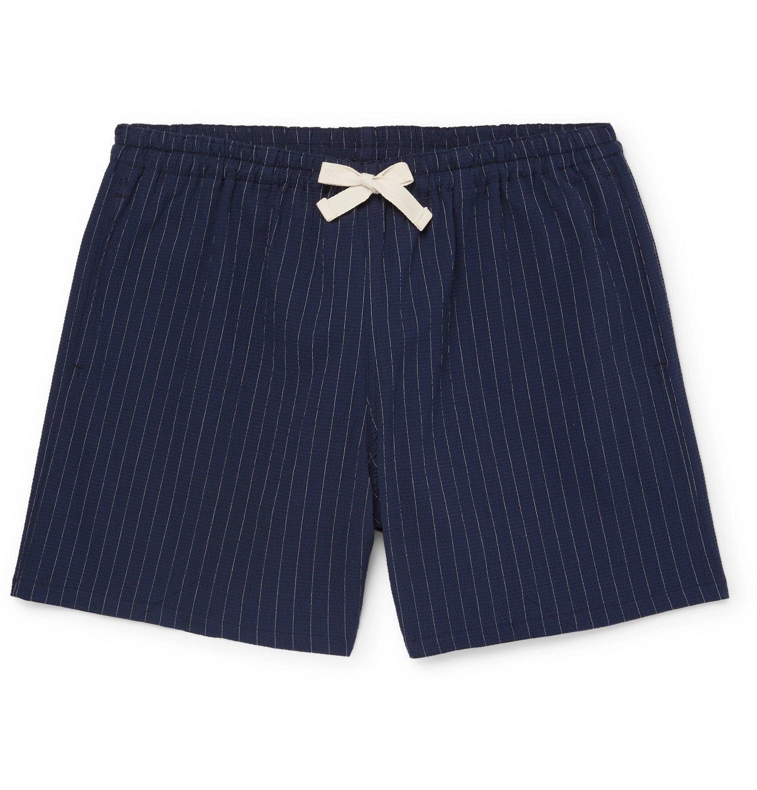 Photo: Howlin' - Holiday Pinstriped Cotton-Blend Seersucker Drawstring Shorts - Blue