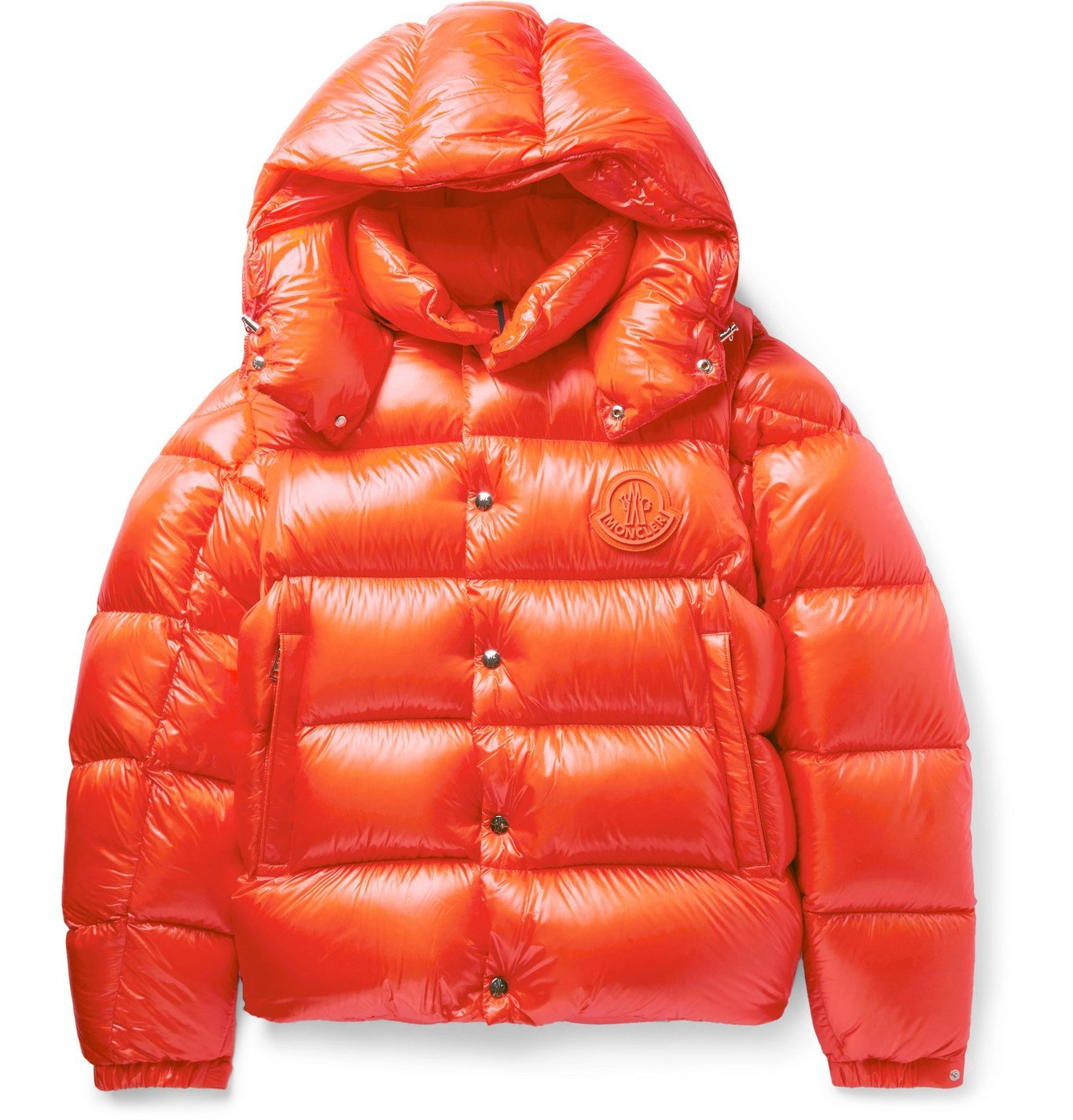 Photo: Moncler - Tarnos Slim-Fit Logo-Appliquéd Quilted Nylon-Shell Hooded Down Jacket - Orange
