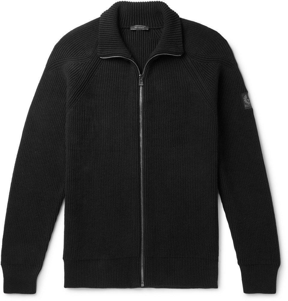 Belstaff - Slim-Fit Ribbed Cotton Zip-Up Cardigan - Men - Black