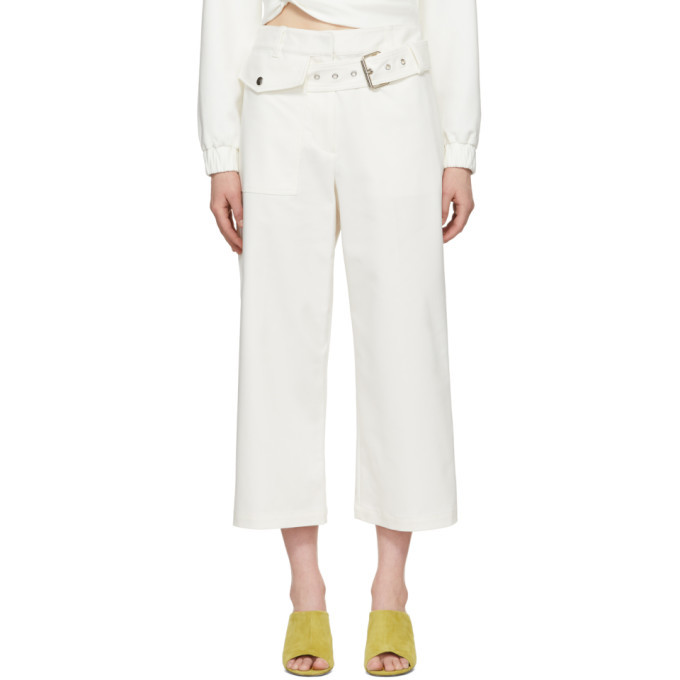 3.1 Phillip Lim White Belted Wide-Leg Trousers