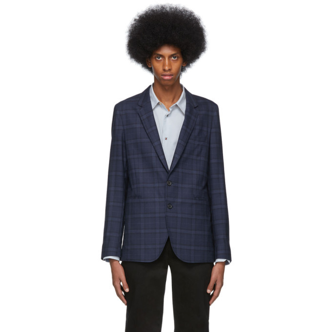 Photo: PS by Paul Smith Navy Check Unlined Blazer