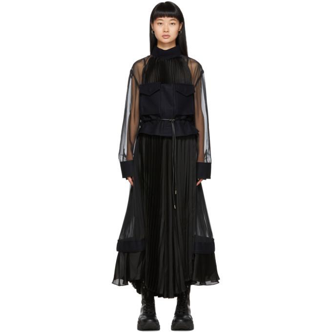 Sacai Black Pleated Chiffon Dress