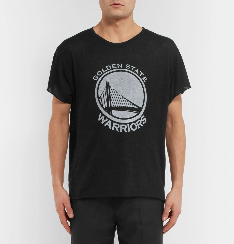 The Elder Statesman - NBA Golden State Warriors Printed Cashmere and Silk-Blend T-Shirt - Black