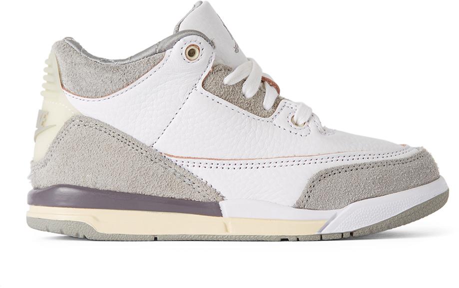 Photo: Nike Jordan Kids White & Grey A Ma Maniére Edition Air Jordan 3 Retro SP Sneakers