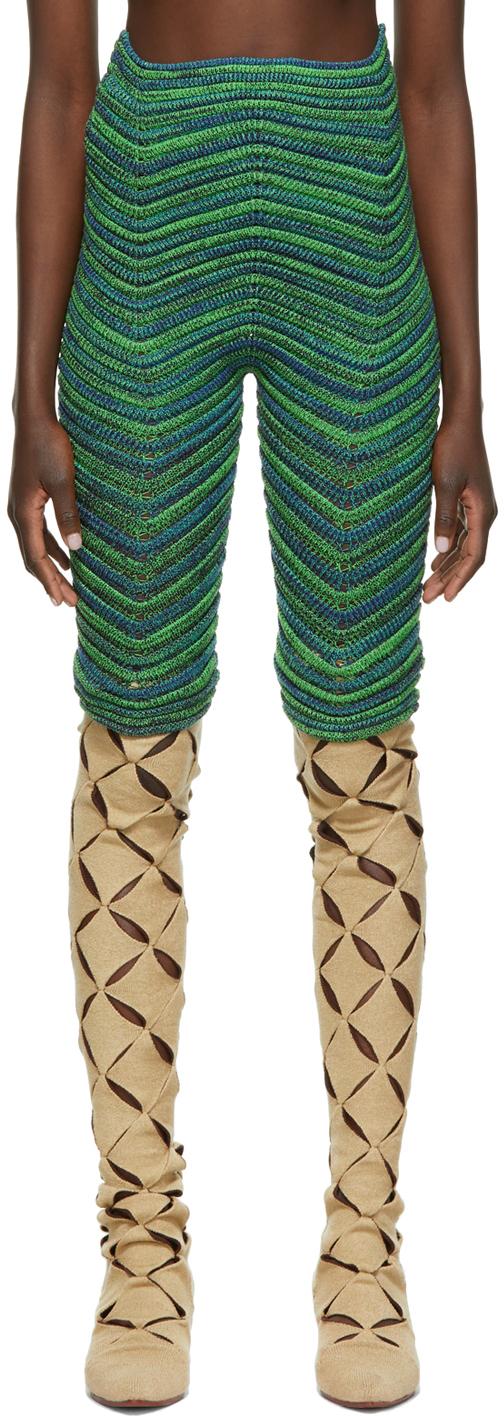 Photo: ISA BOULDER SSENSE Exclusive Green & Blue Bodycurl Shorts