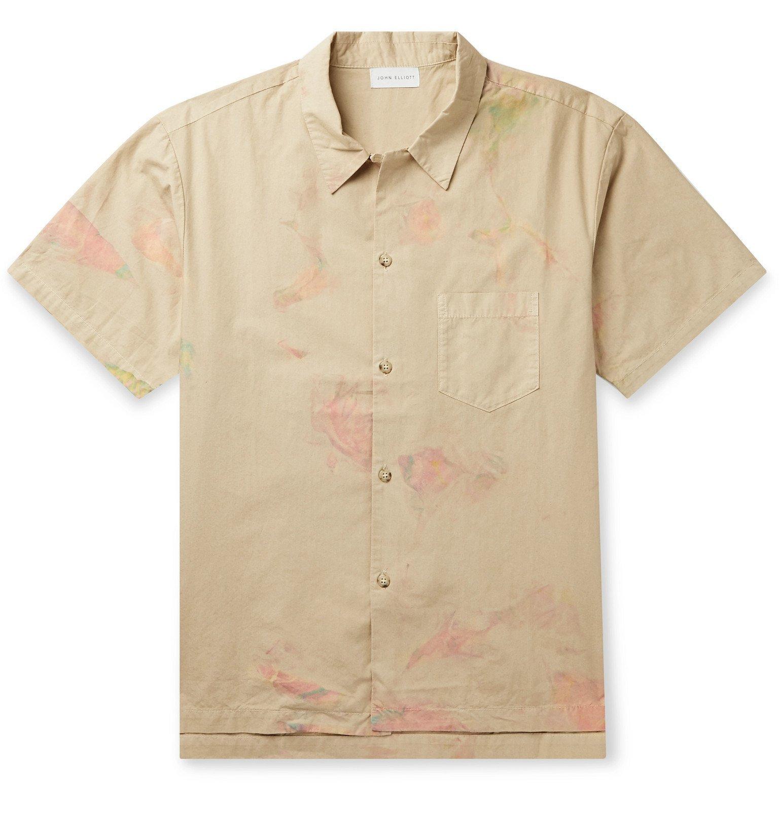 Photo: John Elliott - Camp-Collar Tie-Dyed Cotton Shirt - Neutrals