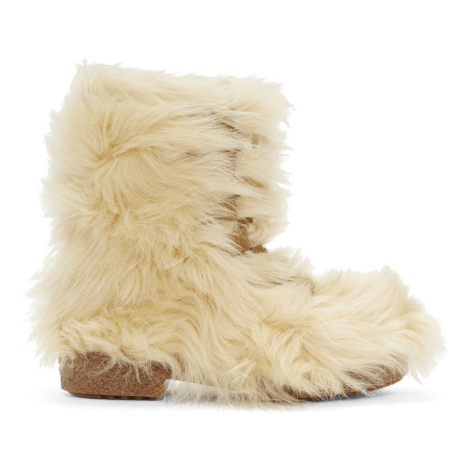 Photo: Saint Laurent Beige Furry Boots