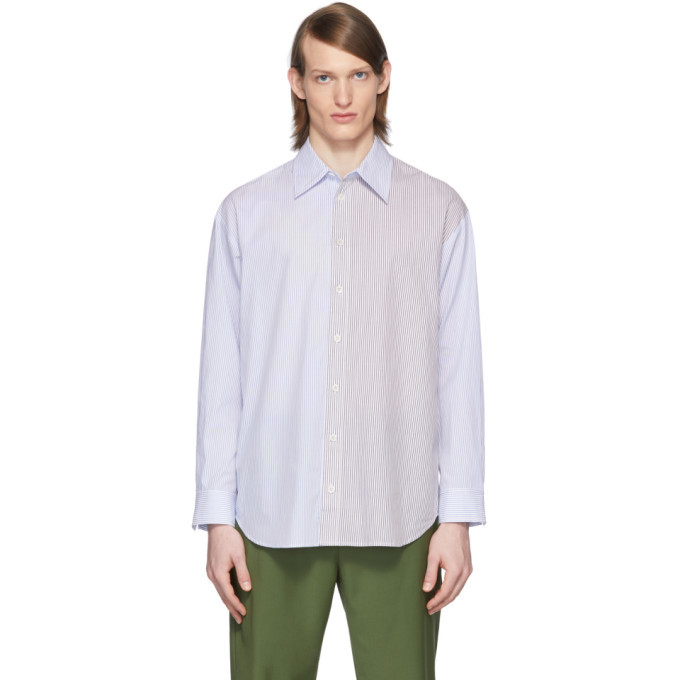 Photo: Tibi SSENSE Exclusive White and Blue Collage Shirt