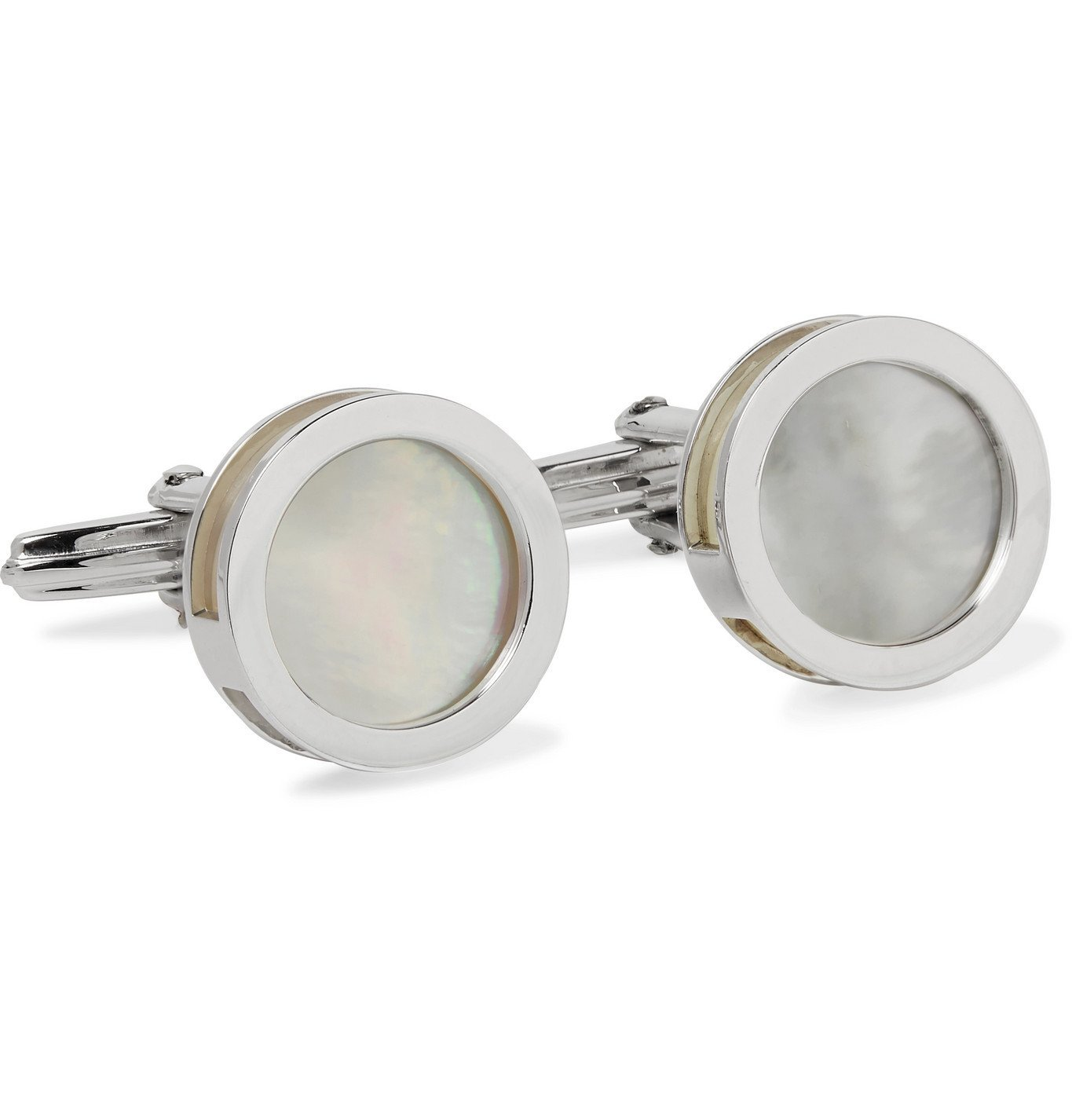 Photo: Lanvin - Rhodium-Plated Mother-of-Pearl and Onyx Cufflinks - Silver