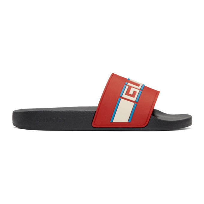 Photo: Gucci Red Pursuit Pool Slides