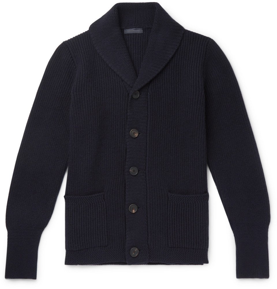 Photo: Thom Sweeney - Shawl-Collar Ribbed Cashmere Cardigan - Navy