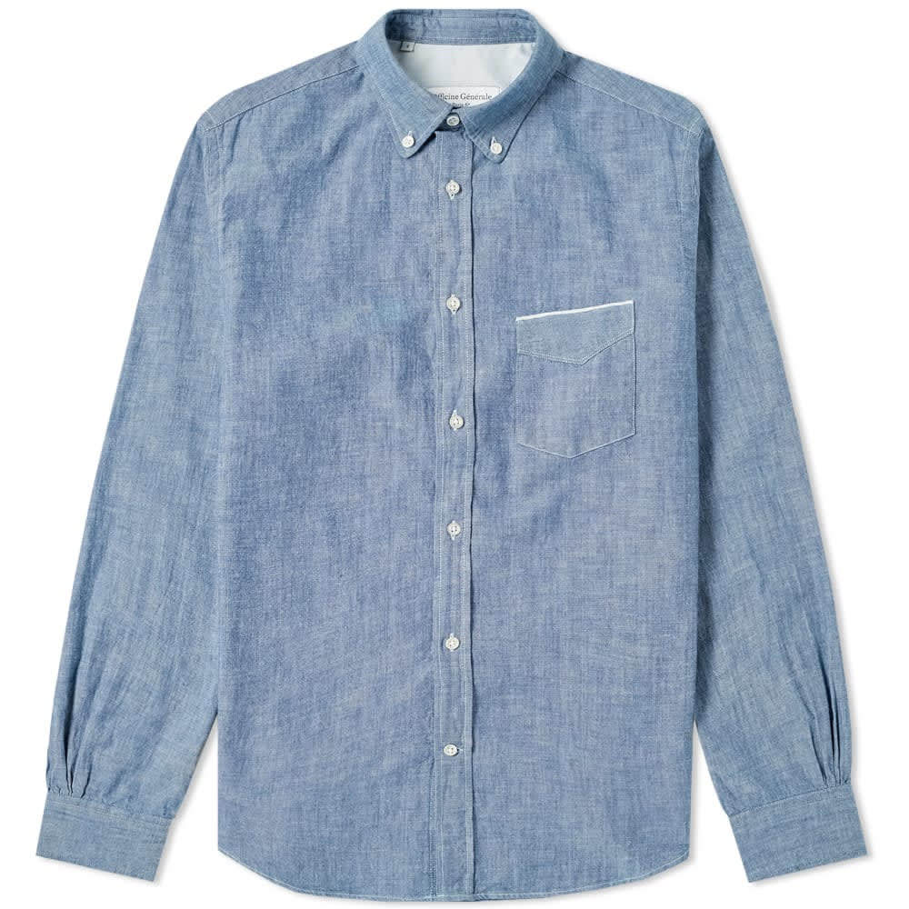 Photo: Officine Generale Button Down Japanese Chambray Selvedge Shirt