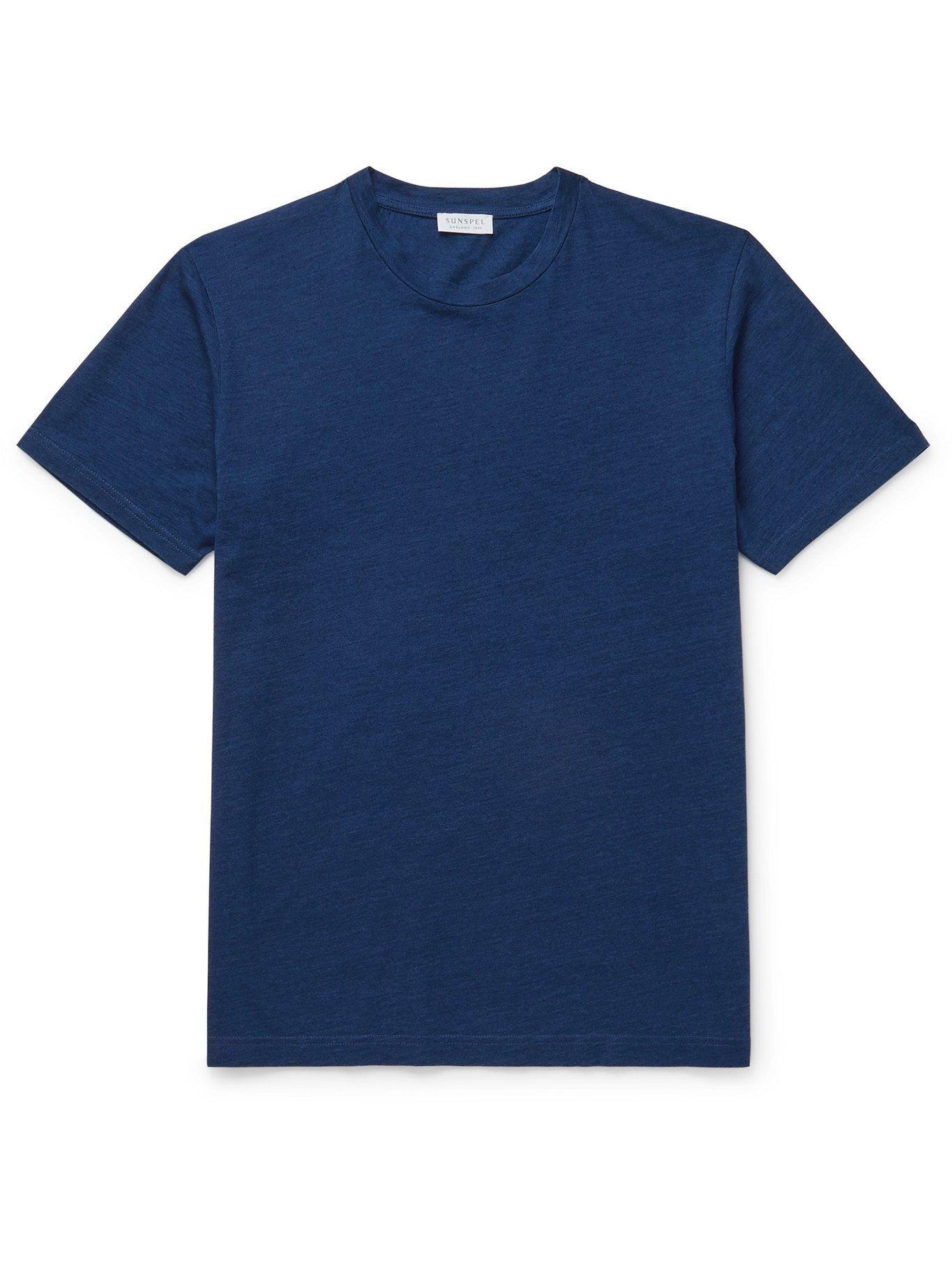 SUNSPEL - Riviera Mélange Organic Cotton-Jersey T-Shirt - Blue - S