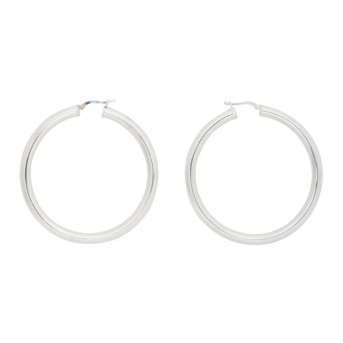 Photo: Bottega Veneta Silver Thin Hoop Earrings