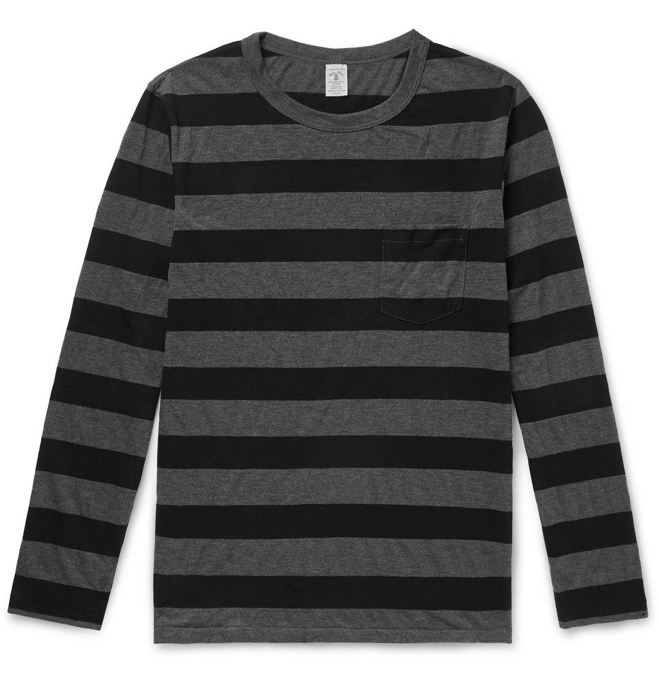 Photo: Velva Sheen - Striped Cotton-Blend Jersey T-Shirt - Charcoal