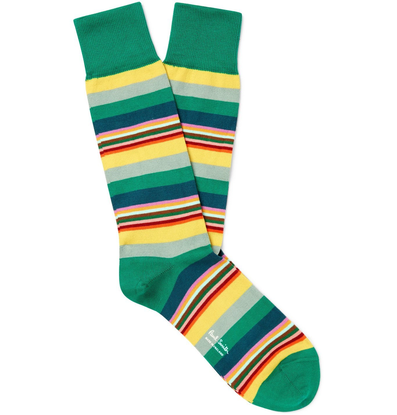 Photo: PAUL SMITH - Quid Striped Cotton-Blend Socks - Green