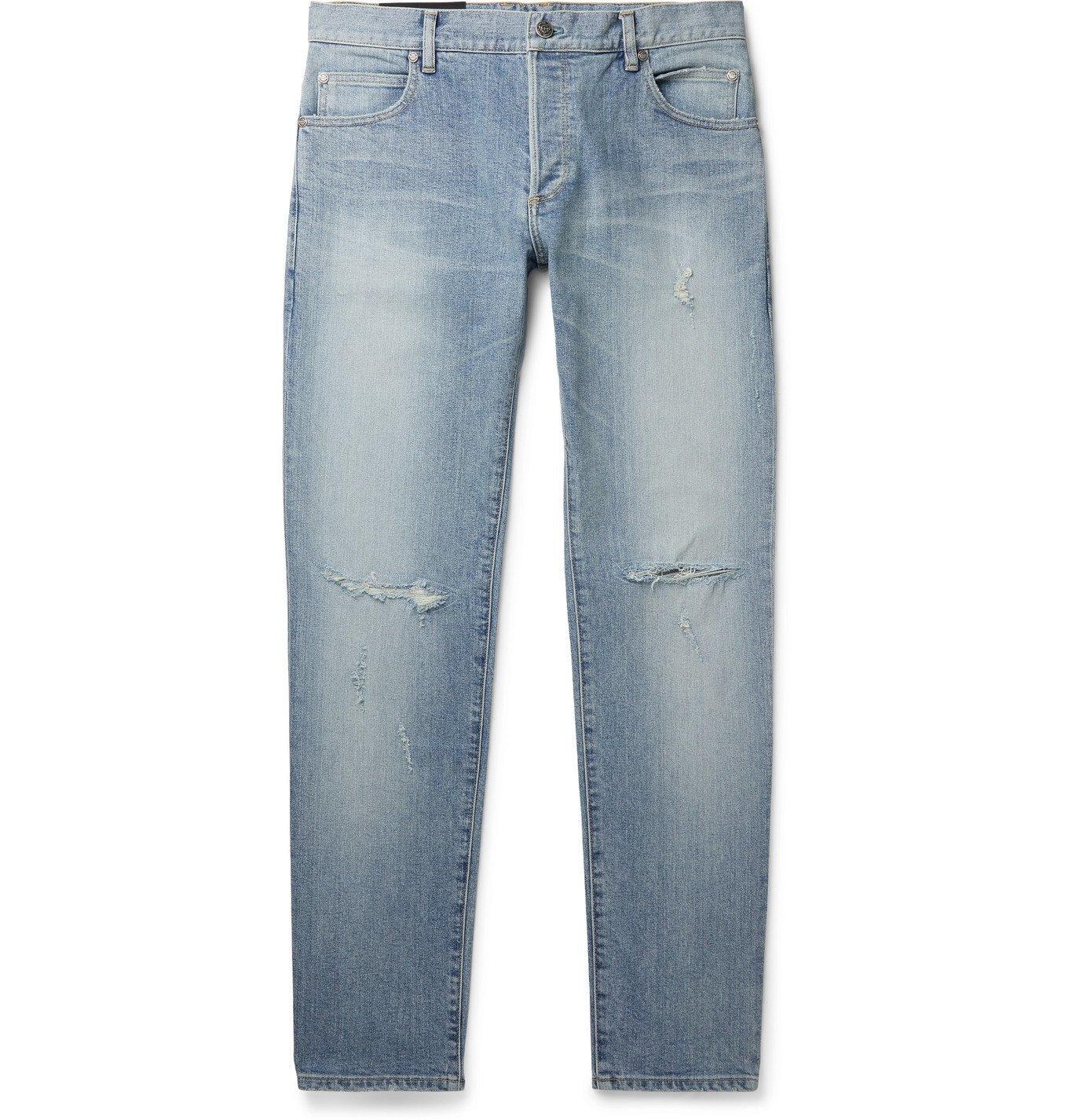 Photo: BALMAIN - Skinny-Fit Distressed Logo-Embroidered Denim Jeans - Blue