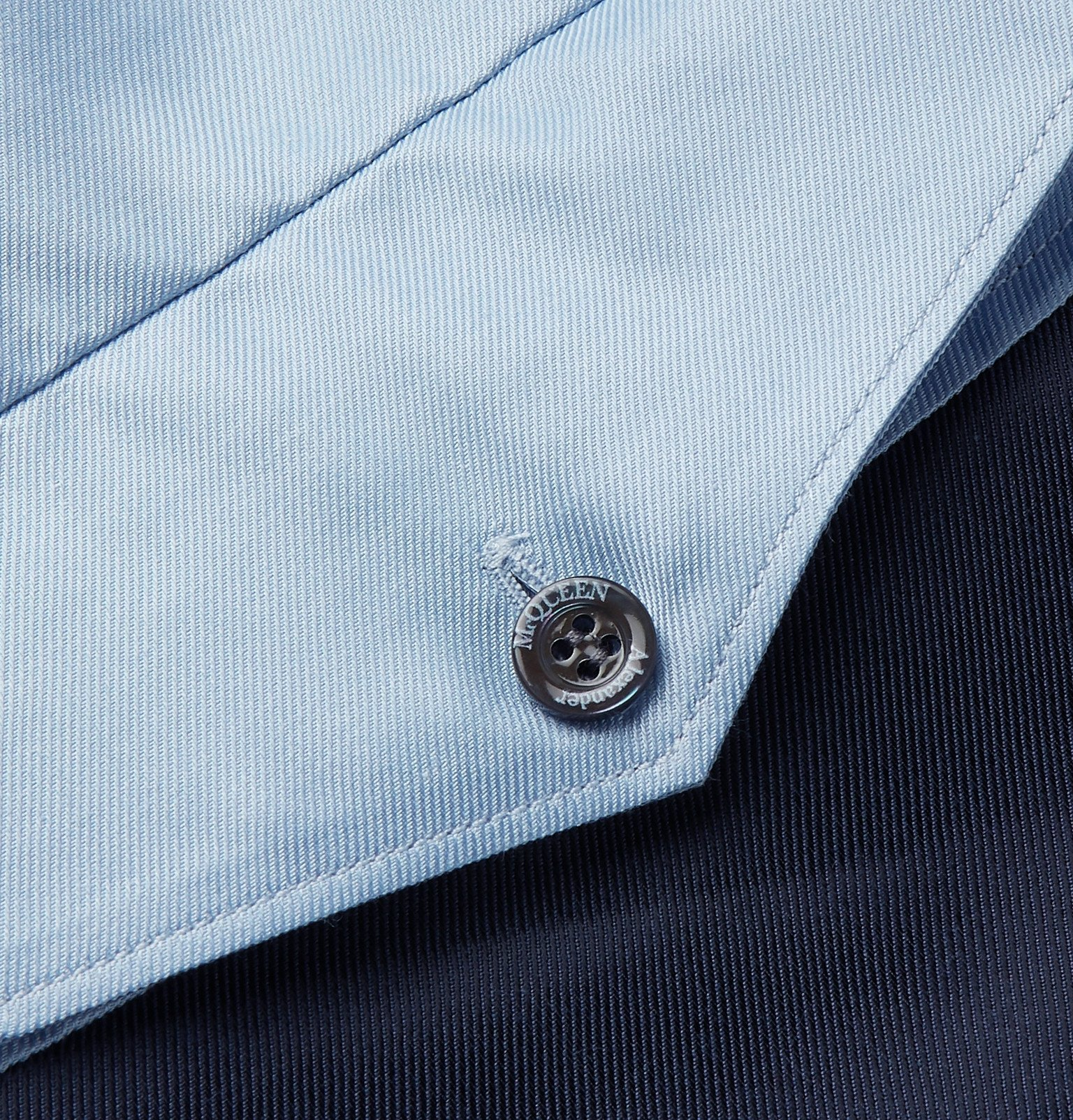 Photo: Alexander McQueen - Slim-Fit Colour-Block Cotton-Blend Satin-Twill Shirt - Blue