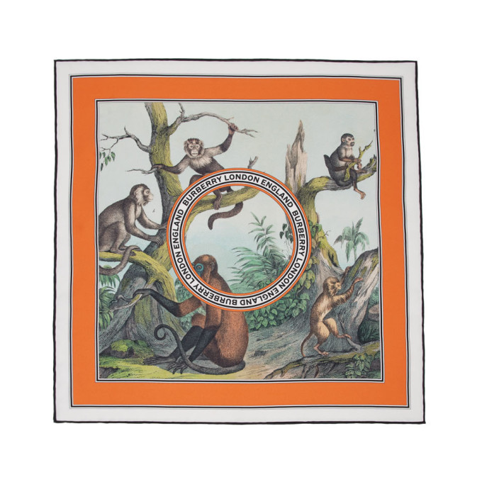 Photo: Burberry Multicolor Silk Small Monkey Print Scarf