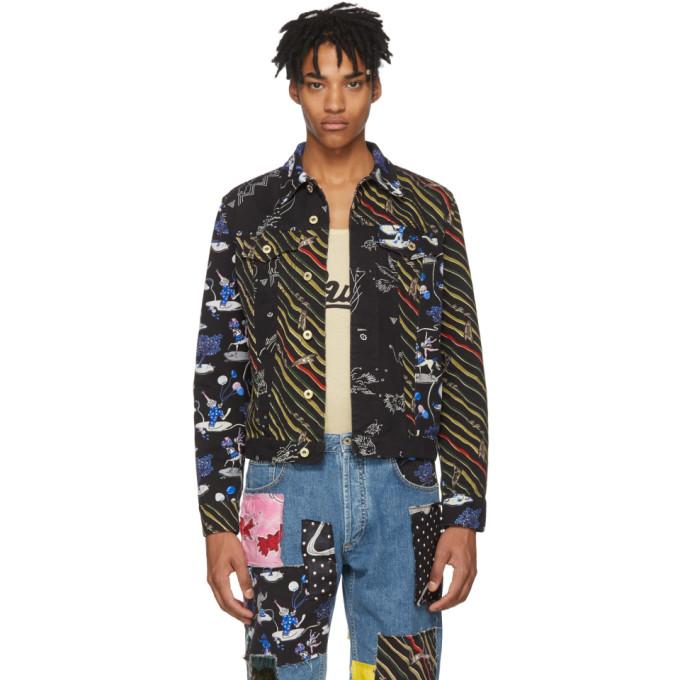 Photo: Loewe Black Paulas Ibiza Edition Denim Multi Flag Stripe Jacket