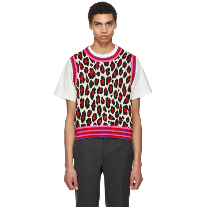 Photo: Comme des Garçons Homme Plus White Leopard Knit Vest