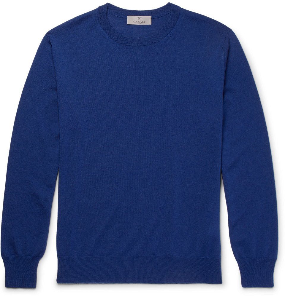 Photo: Canali - Slim-Fit Merino Wool Sweater - Men - Blue