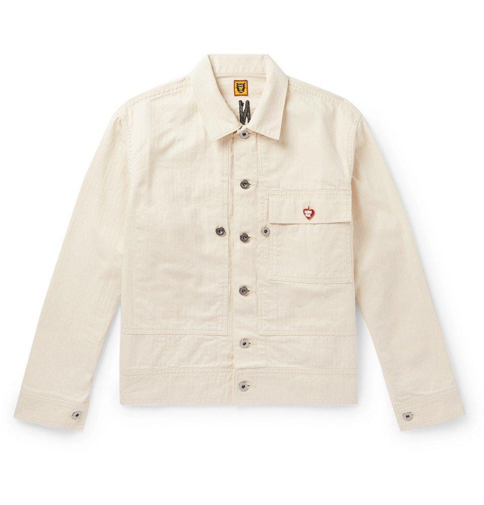 Photo: Human Made - Embroidered Herringbone Denim Trucker Jacket - Ecru