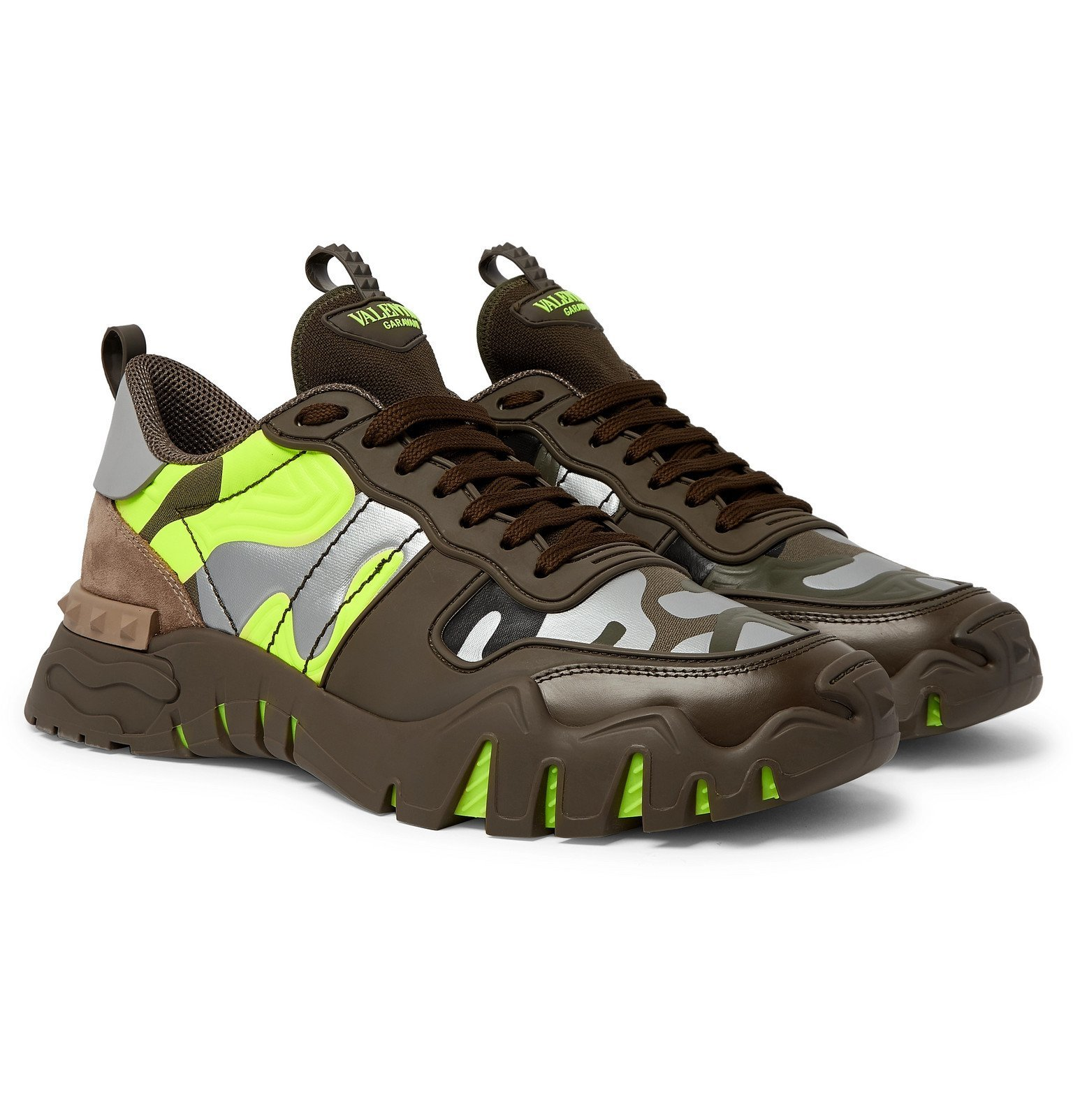 Photo: Valentino - Valentino Garavani Rockrunner Plus Rubber, Suede and Canvas Sneakers - Green