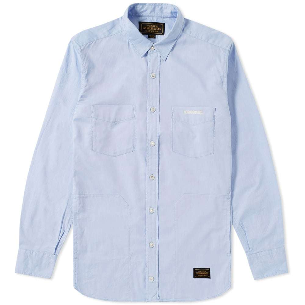 Photo: Neighborhood Classic 4 Pocket Oxford Shirt Blue