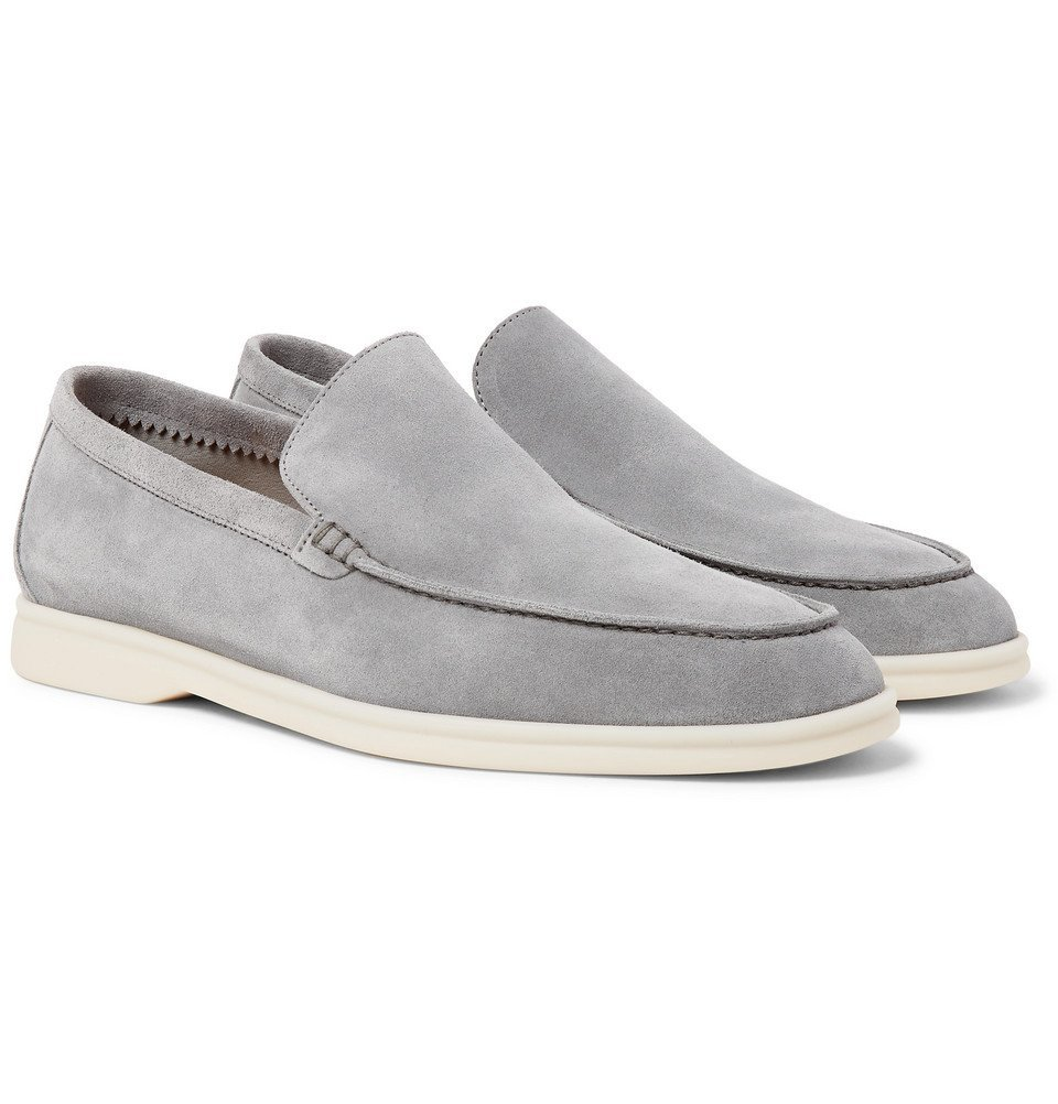 Photo: Loro Piana - Summer Walk Suede Loafers - Light gray
