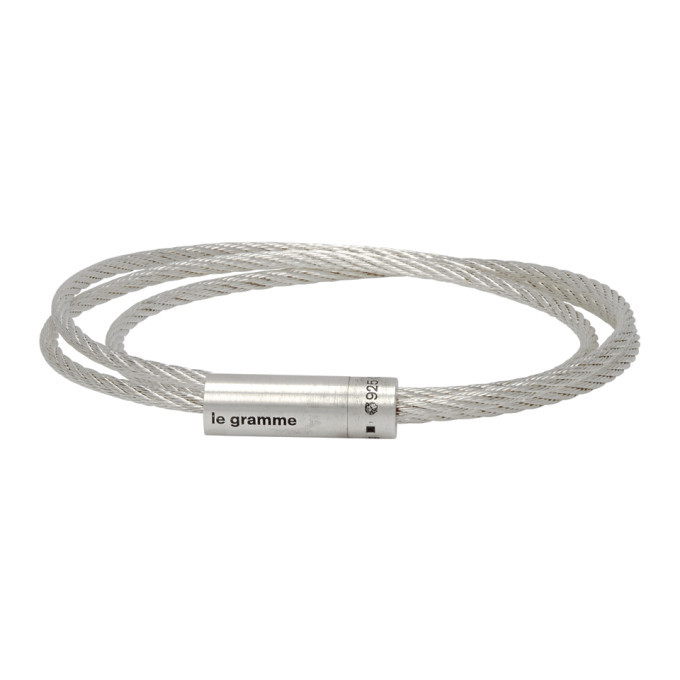 Photo: Le Gramme Silver Slick Polished Le 11 Grammes Triple Wrap Cable Bracelet