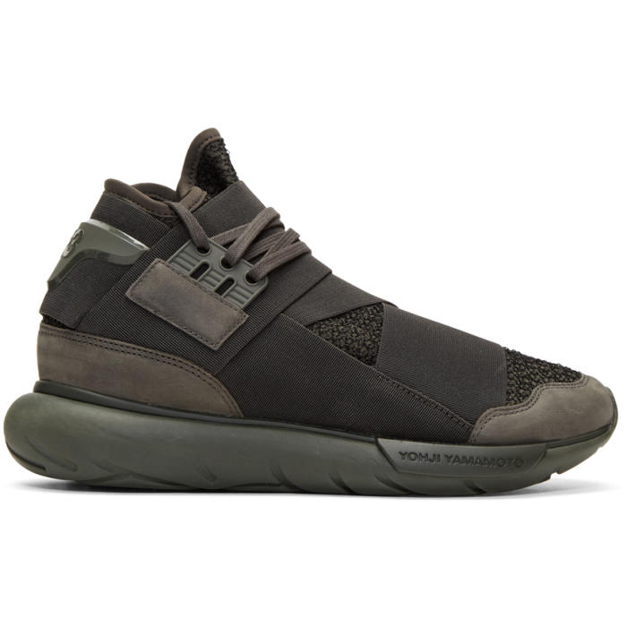 Y-3 Black and Green Qasa High Sneakers