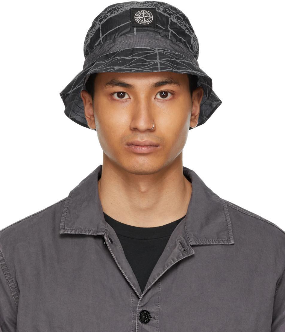 Photo: Stone Island Grey Packable Reflective Grid Bucket Hat