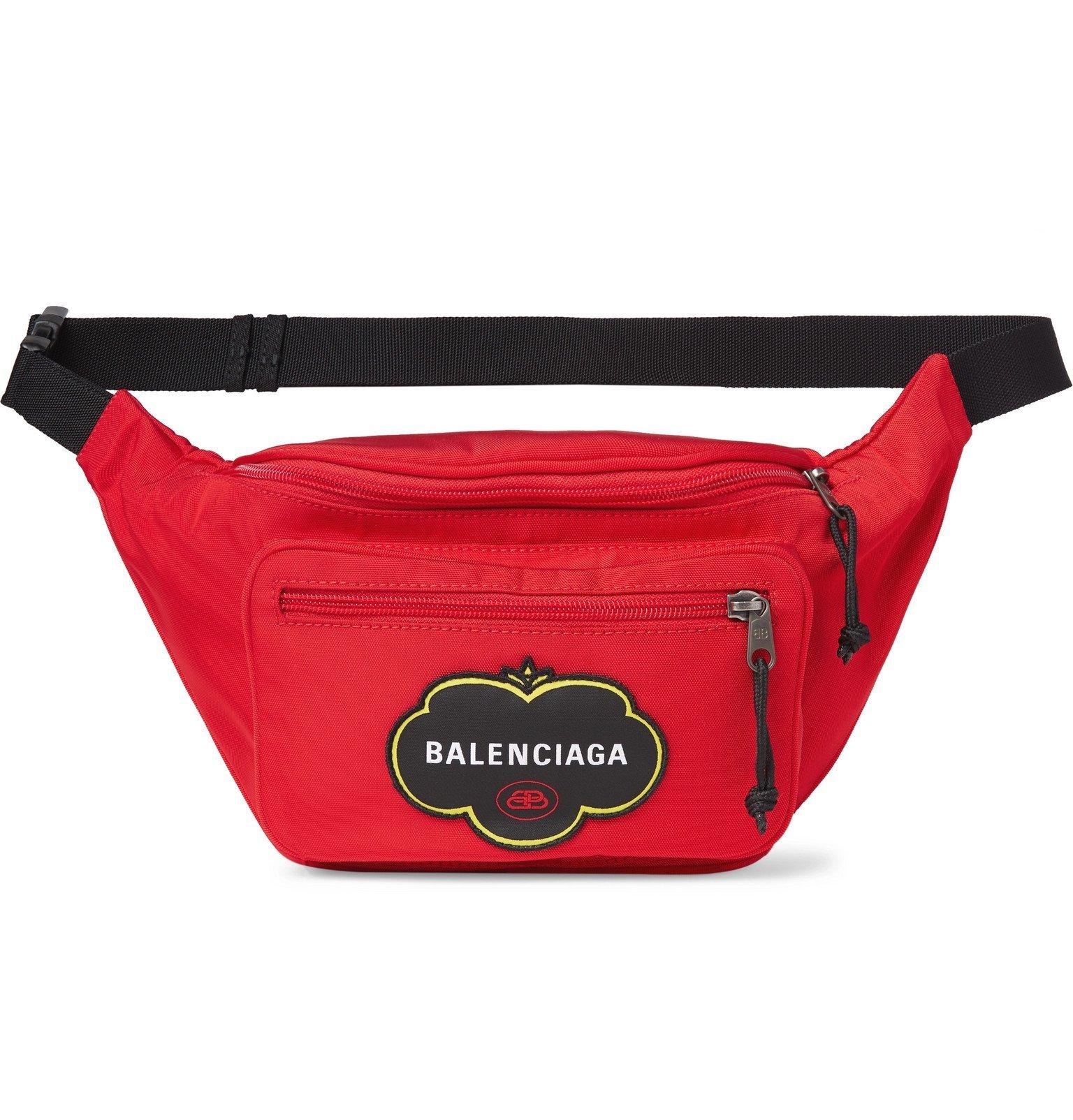Photo: Balenciaga - Explorer Logo-Appliquéd Nylon Belt Bag - Red