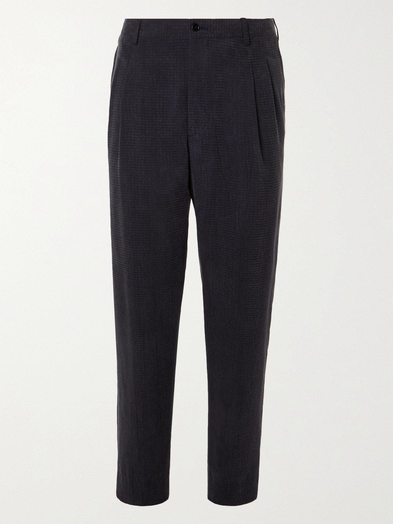 GIORGIO ARMANI - Pleated Herringbone-Jacquard Trousers - Blue - IT 48