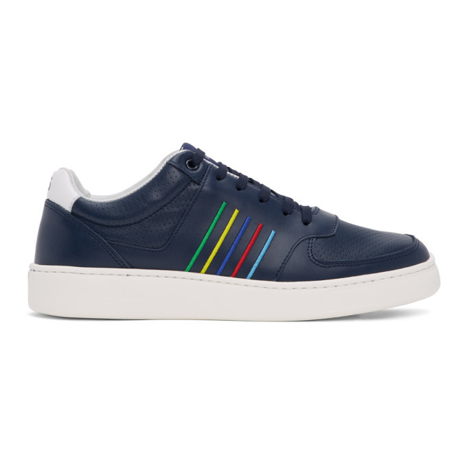 Photo: PS by Paul Smith Navy Striped Saturn Sneakers