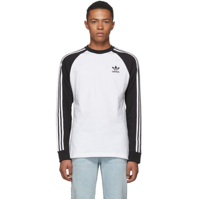 adidas Originals Black and White Long Sleeve 3-Stripes T-Shirt