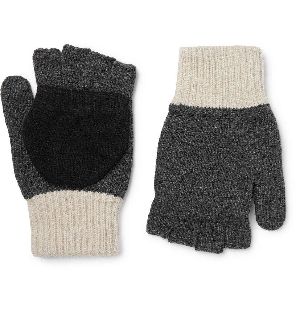 Photo: Oliver Spencer - Oli's Colour-Block Wool-Blend Fingerless Gloves - Gray