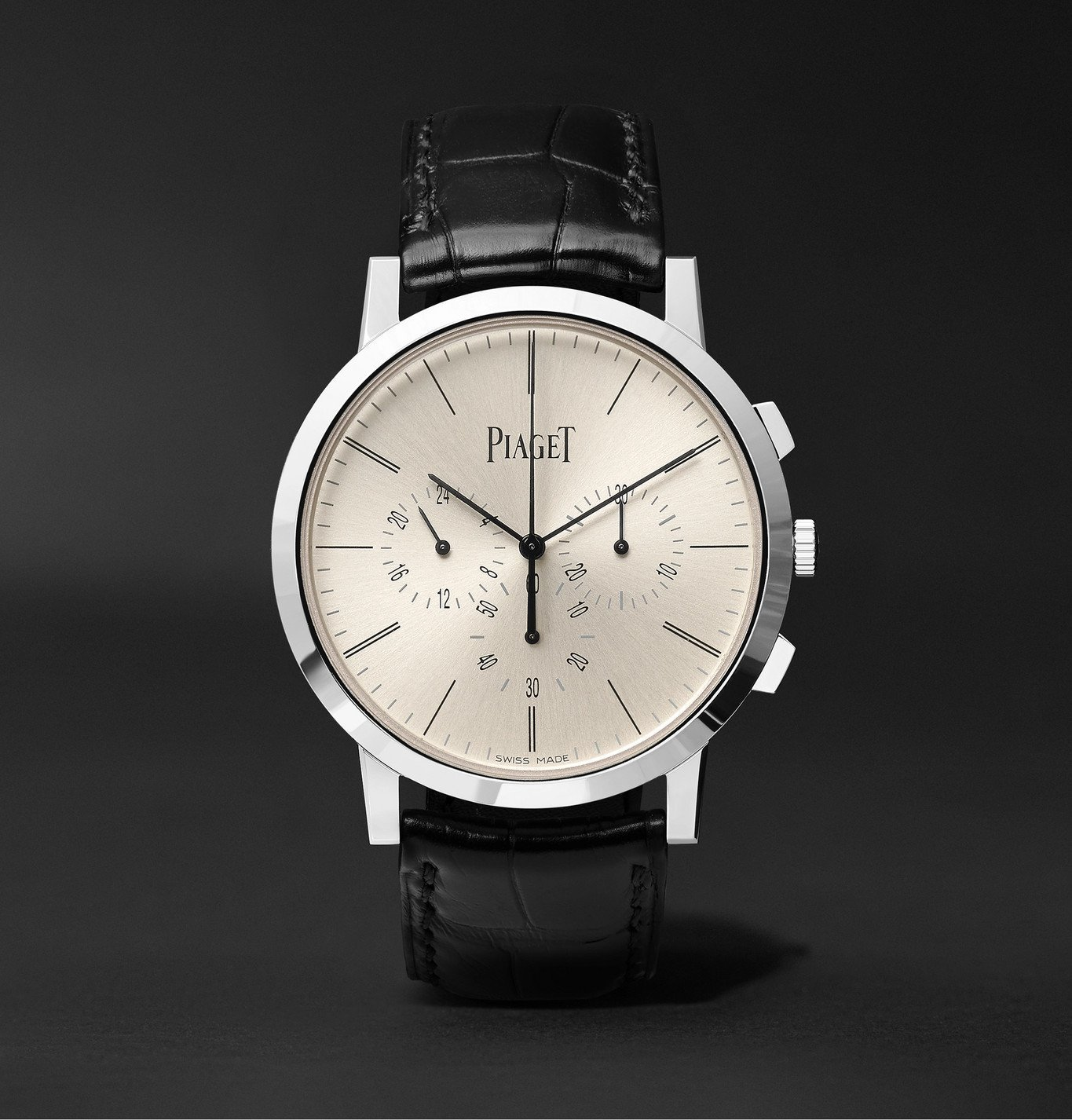 Photo: Piaget - Altiplano Flyback Automatic Chronograph 41mm 18-Karat White Gold and Alligator Watch, Ref. No. G0A41035 - Black