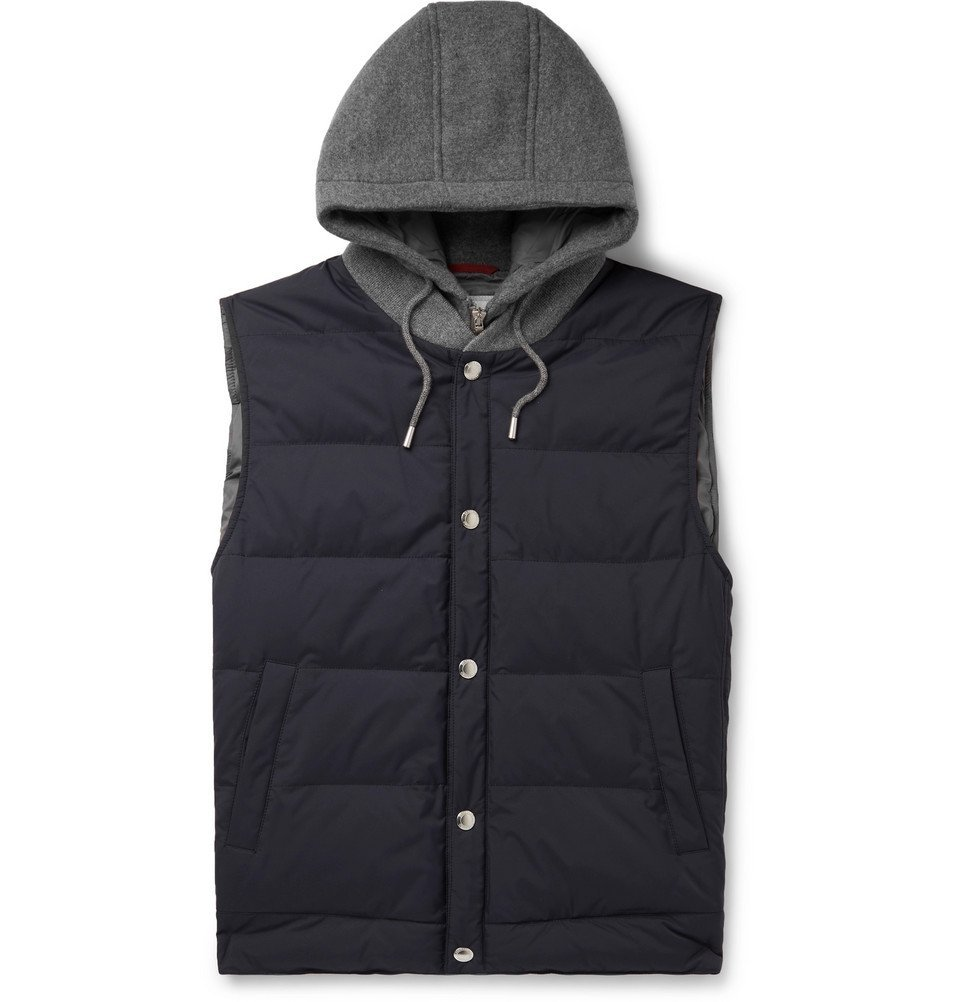 Photo: Brunello Cucinelli - Cashmere and Quilted Shell Hooded Down Gilet - Blue