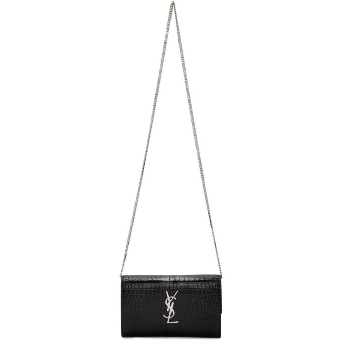 Photo: Saint Laurent Black Croc Uptown Wallet Bag