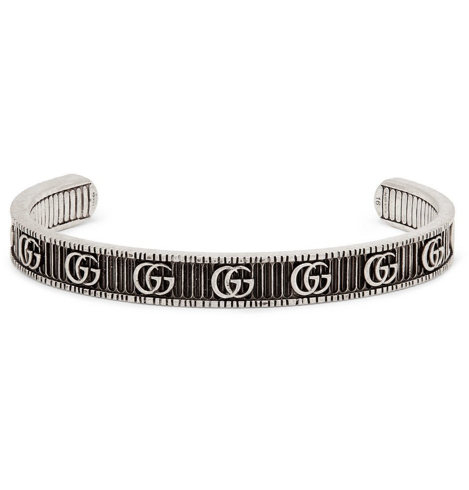 Photo: Gucci - Engraved Burnished Sterling Silver Cuff - Silver