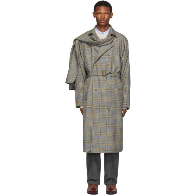 Photo: Gucci Grey and Orange Plaid Detachable Scarf Trench Coat