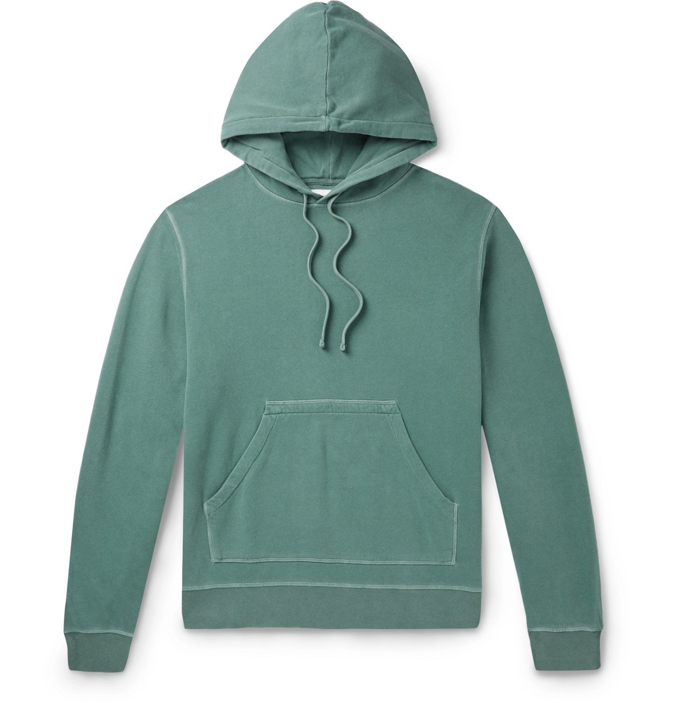 Photo: Officine Generale - Olivier Garment-Dyed Loopback Cotton-Jersey Hoodie - Green