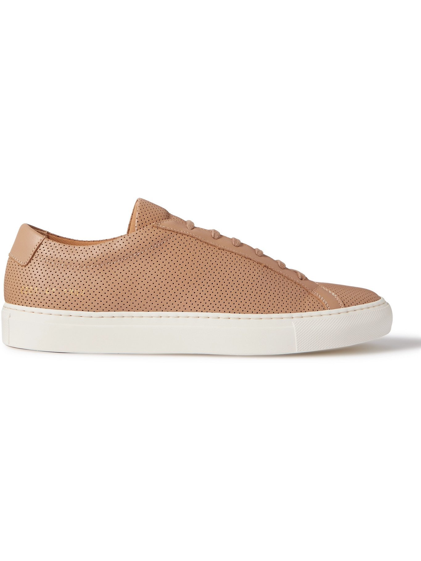 Photo: COMMON PROJECTS - Achilles Perforated Leather Sneakers - Brown