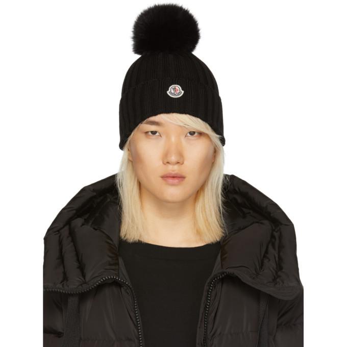 Moncler Black Fur Pom Pom Beanie Moncler 8718271aec1